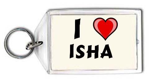 Shopzeus I love Isha Keychain (first name/surname/nickname): Amazon