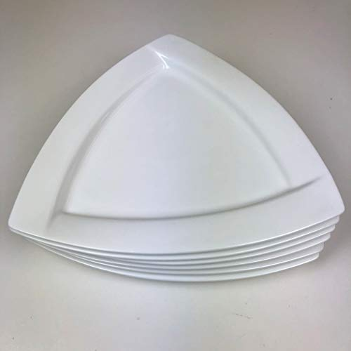 Shin Kitchenware Porcelain Triangular Dinner Plates (12 x 12 x 12 Inch) Set of 6 ()
