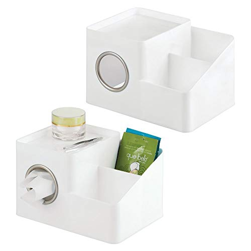 mDesign Square Facial Tissue Box Cover Holder, Storage Organizer Caddy for Bathroom Vanity Countertop, Bedroom Dresser, Night Stand, Desk, Table - Holds Makeup, Toiletries, Pens - 2 Pack - White/Satin (Square Tables Iron Nesting)
