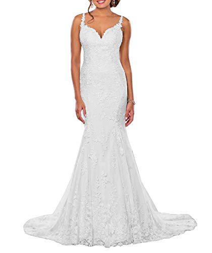 Lianai Women's Romantic Lace Tulle Wedding Dress Long Mermaid Bridal Gowns with Straps White,10 ()