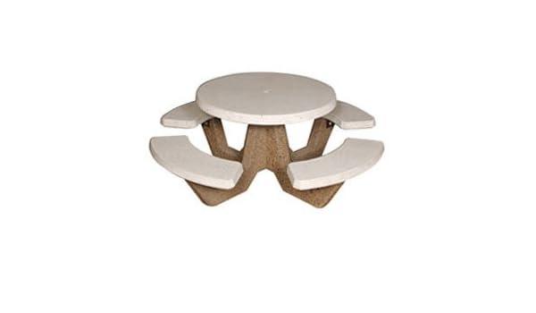 Strange Amazon Com 42 Round Picnic Table With 4 Benches Concrete Inzonedesignstudio Interior Chair Design Inzonedesignstudiocom