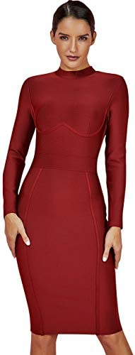 UONBOX Women's Rayon Long Sleeves Midi Fall Winter Night Club Party Bodycon Bandage Dress