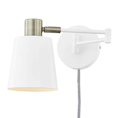Light Society LS-W280-WH Alexi Plug-in Wall Sconce in Matte White with Swivel Arm and Brass Details, Modern Contemporary Loft-Style Lighting