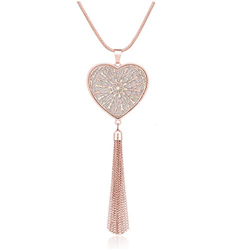 (MOLOCH Long Necklaces for Woman Disk Circle Pendant Necklaces Tassel Fringe Y Necklace Set Statement Pendant (Heart-Shaped-Rose Gold) )