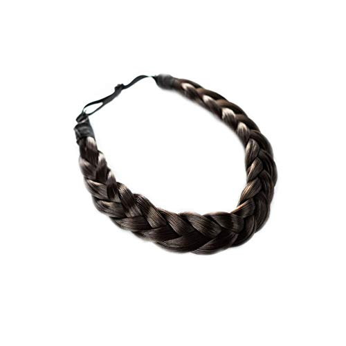 Madison Braids Women's Two Strand Headband Hair Braid Natural Looking Synthetic Hair Piece Extension - Lulu - Dark Brown
