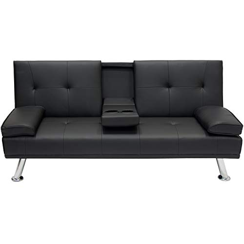 (Modern Entertainment Futon Black Sofa Bed Fold Up & Down Recliner, Convertible Into Sleeper, Living Room Furniture, Armrests, Couch With Cup Holders Furniture, Bundle with Expert Guide for Better Life)
