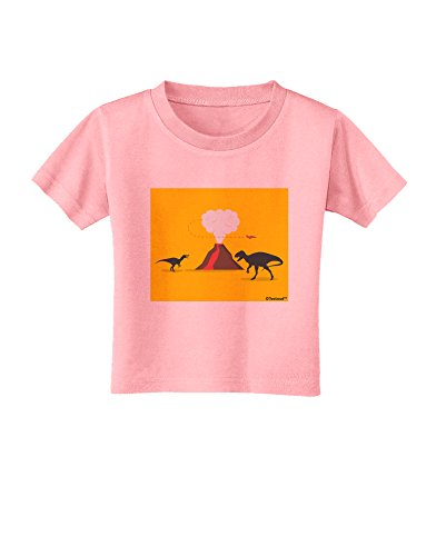 TOOLOUD Two Dinosaurs and Volcano Design Toddler T-Shirt - Candy Pink - 2T