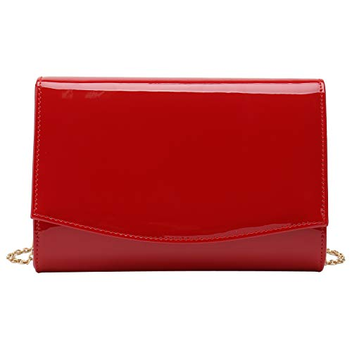 Charming Tailor Patent Leather Flap Clutch Classic Elegant Evening Bag Chic Dress Purse (Red)
