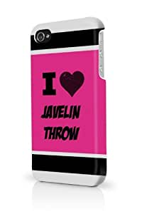 Javelin Throw Pink iPhone 4 Case Fits iPhone 4 & iPhone 4S Full Print Plastic Snap On Case