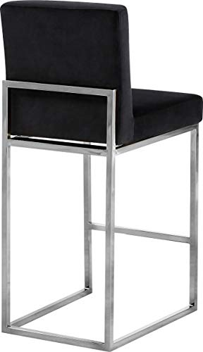 Kitchen Meridian Furniture Giselle Collection Modern | Contemporary Velvet Upholstered, Channel Tufted Counter Stool with… modern barstools