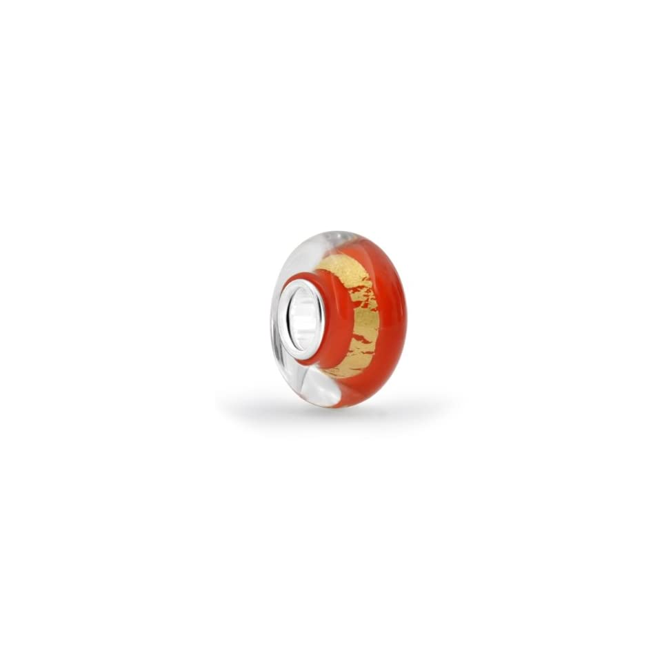 Bling Jewelry Orange Murano Glass Bead Metallic Gold Stripe Sterling Silver Pandora Compatible