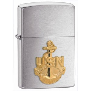 Zippo Navy Anchor Emblem Brushed Chrome Lighter (Set of 6) - Navy Blue Chrome Pen