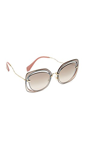 Miu Miu Women's Cut Out Square Sunglasses, Brown/Brown Silver, One - Glasses Designer Miu Miu