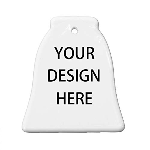 linarts Personalized Ornament, Add Photo Text or Art Design and Make Your Own Customized Porcelain Ceramic Wedding Christmas Ornament Decoration - Bell Shape