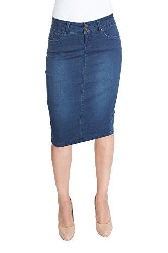 Stretch Denim Straight Skirt - 9