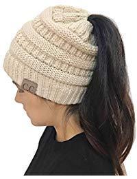 - Messy Bun Hat Beanie (Beige) CC Quality Knit
