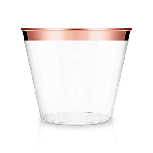 Leddle Rose Gold Plastic Cups | 9oz. Pack of 100 | Rose Gold Color | Hard Clear Plastic Cups | Stylish and Decorative Disposable Wedding Cups | Party Supplies | ()