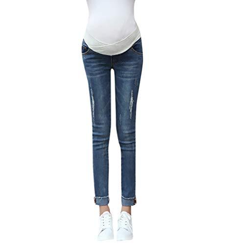 Huifa Pregnant Woman Leggings Jeans Maternity Pants Trousers Nursing Prop Belly (Blue,XL) (Best Maternity Leggings 2019)