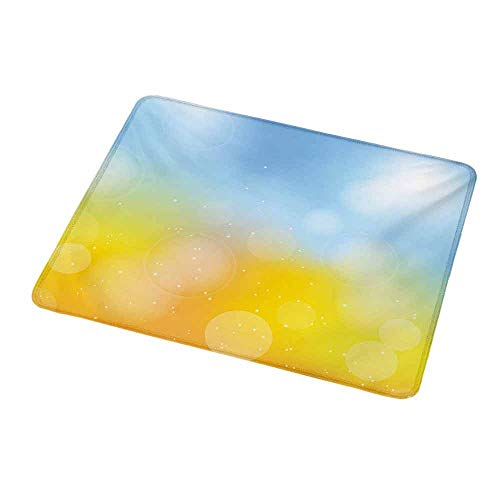 Art Mousepad Yellow and Blue,Gradient Toned Autumn Season Frame in Pastel with Hazy Effects,Marigold Pale Blue,Standard Size Rectangle Non-Slip Rubber Mousepad - Frame Tinkerbell Yellow