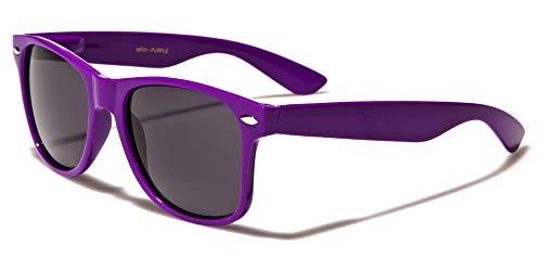 Kids Childrens 80's Classic Retro Sunglasses (Neon Purple)