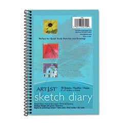 "** Art1st Sketch Diary, 9"" x 6"", White, 70 Sheets/Pad"