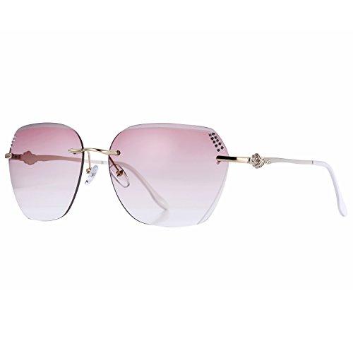 Pro Acme Women's Oversized Rimless Sunglasses Clear Lens Eyewear (Rhinestone on - On With Rhinestones Sunglasses Lenses