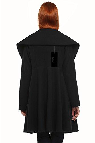 Manteau Poche ANGVNS Hiver Laine Long Parka Moulante Mlange Noir de Elgante Bouton Femme dUqpUP