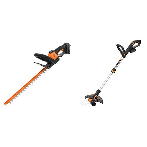 WORX WG261 20V Power Share 22-inch Cordless Hedge Trimmer, Battery and Charger Included with Cordless Grass Trimmer Edger with Command Feed, 12 Tool ONLY