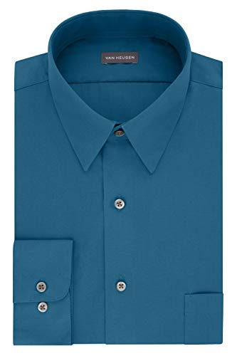 Van Heusen Men's Poplin Fitted Solid Point Collar Dress Shirt, Deep Sea, 16