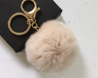18 K Gold Plated Keychain with Plush Cute Genuine Rabbit Fur Key Chain for Car Key Ring (Cream Colored)