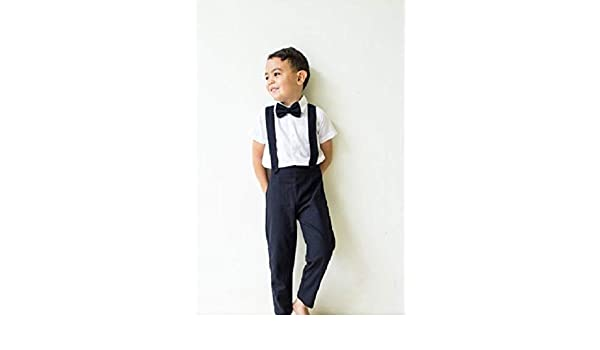 94434f567d2 Amazon.com  3pcs Boy Linen Outfit - Black Boy Wedding Outfit Christening  Outfit  Handmade