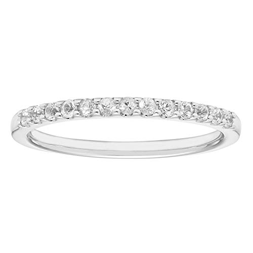 14K White Gold .20 Cttw. Brilliant-Cut Diamond April Birthstone Stackable 2MM Anniversary Band Ring, Size 8