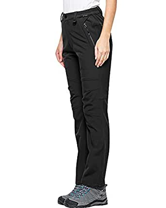 Women's Fleece Lined Soft Shell Pants Insulated Water and Wind Resistant #5022, Black US XXS