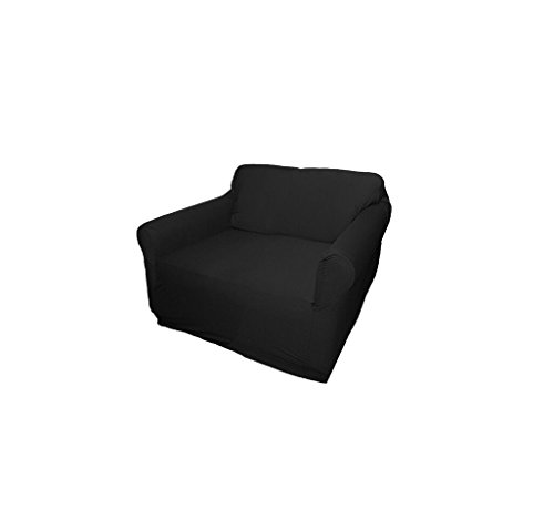 Black-Jersey-Loveseat-Stretch-Slipcover-Sofa-Chair-Recliner-Couch-Cover-Love-Seat-Cover-Kashi-Home