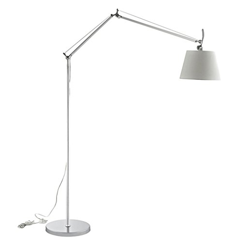 Double Arm Adjustable Metal Floor Lamp, Fabric Lampshade, Alloy Lampholder, E27, Silver, Nordic Simple Style Living Room Study Office Vertical Floor Lamp (Adjust Pedal Double)