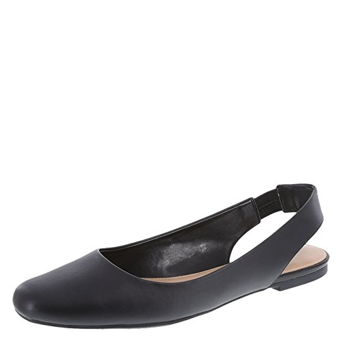 Christian Siriano for Payless Women's Smooth Black Bette Slingback Flat 12 Regular (Slings Shoes Flats)