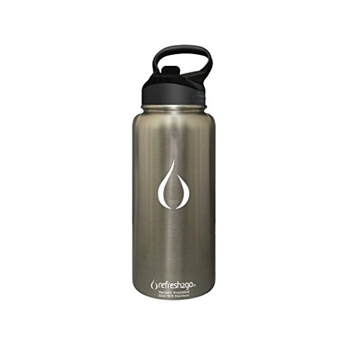 refresh2go 32oz Excursion Vacuum Insulated Stainless Steel Filtered Water Bottle, Silver (11020-SL)