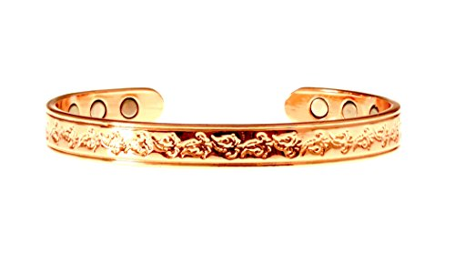Copper Bracelet For Arthritis; Magnetic Therapy (6 Embedded into internal face); Beautiful Floral Design; Commonly worn for Pain Relief and Magnetic Healing; Can also be worn as an Accessory - Floral Design Bangle
