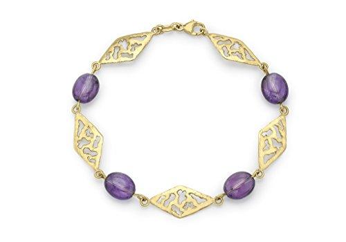 9ct or jaune Diamant Link et améthyste Bracelet 19cm/7.5'