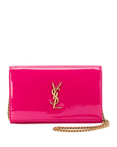 Saint Laurent Kate Monogram YSL Patent Wallet on Chain Made in Italy (Shocking Pink)