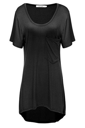Women's Casual Tunic Short Sleeve Casual Loose Top T-Shirt Black XXL