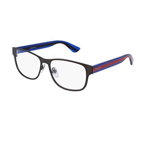 Gucci GG 0007O 003 Ruthenium Metal Rectangle Eyeglasses - Gucci Glasses Blue