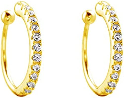 Semi Hoops Crystal Ear Studs 925 Sterling Silver For Women and Girls