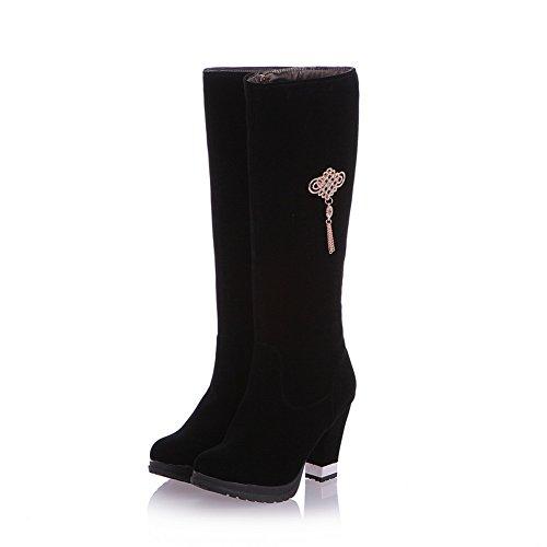 AdeeSu Womens Metal Chain Chunky Heels Platform Frosted Boots Black 07uBvuG