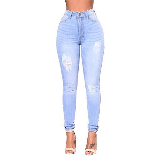 Alta Casual Jeans A Con Vita Donne Donna Tasche Slim Pantaloni Blau Classiche Skinny Fit XBwqZP