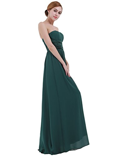 iEFiEL Vestido Largo sin Tirantes de Noche Boda para Mujer Chica Espalda al Aire Verde Oscuro