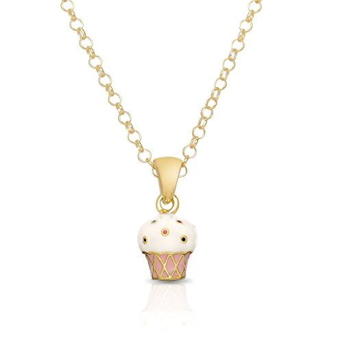 - Lily Nily Necklace for Girl's - 3D Cupcake Pendant - Gold Plated with Hand Painted Enamel - By