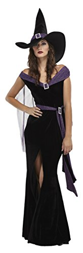 Morris Costumes Womens Sexy Wicked Witch Elegant Black Purple Fancy Dress, L (Wicked Witch Fancy Dress)