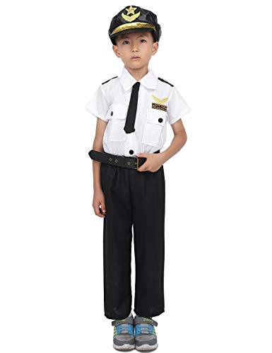 (iiniim Kids Boys Airline Pilot Aviator Costumes Flight Captain Suit Uniform Halloween Outfits Short Sleeve Shirt with Pants White&Black)