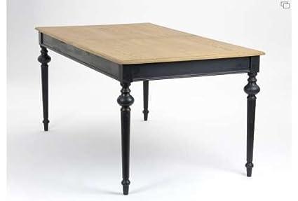 Table Salle A Manger Bois Noir Ceruse Amazon Fr Cuisine Maison